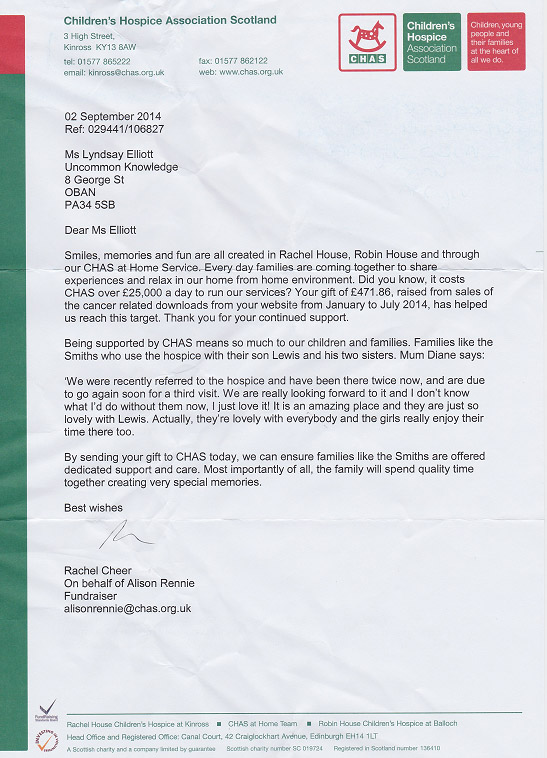 Thank you letter from CHAS on September 2014