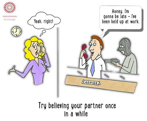 Trust your partner cartoon