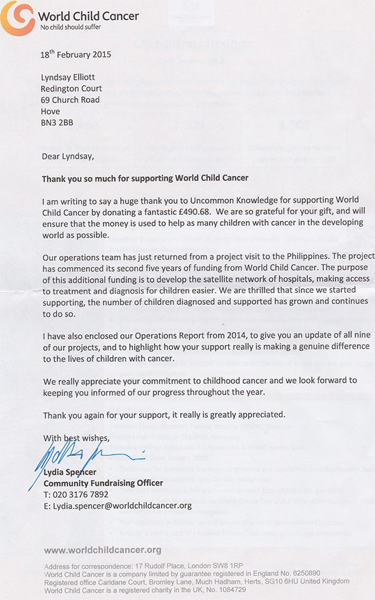 Thank you from World Child Cancer on February 2015