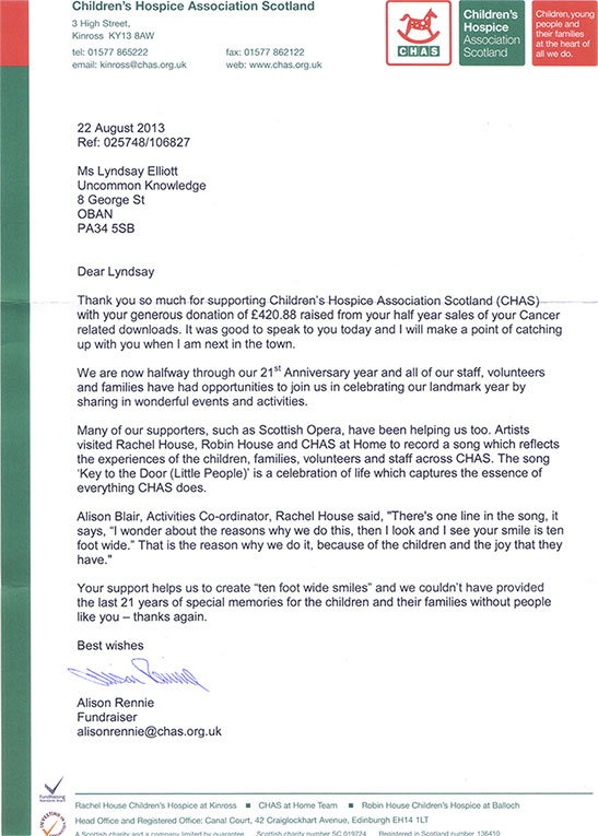 Thank you letter from CHAS on August 2013