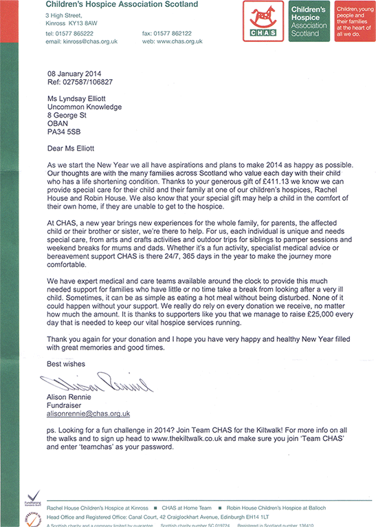 Thank you letter from CHAS on January 2014